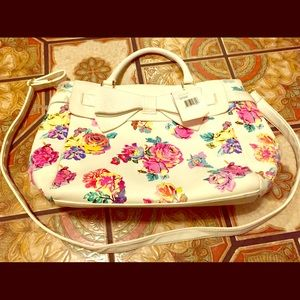 Betsey Johnson Belted Bow Floral Bag Tote